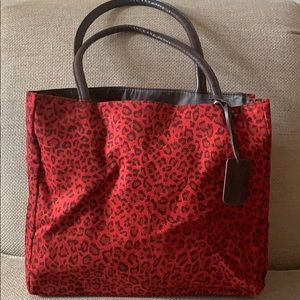 Neiman Marcus Red Animal Print Tote *NEW*